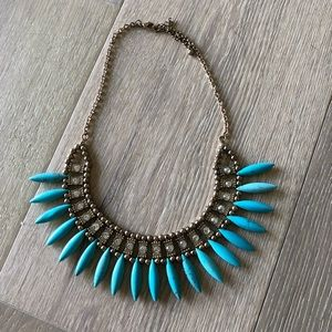 H&M gold and turquoise choker necklace